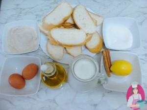 ingredientes para hacer torrijas